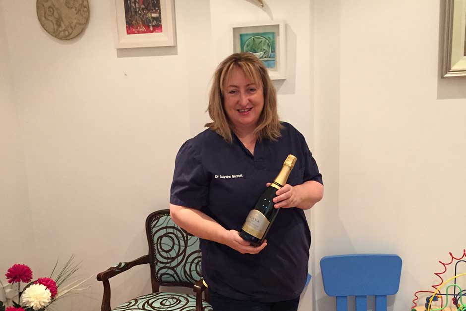 Dr. Deirdre Barrett Won the 6 bottles of wine.